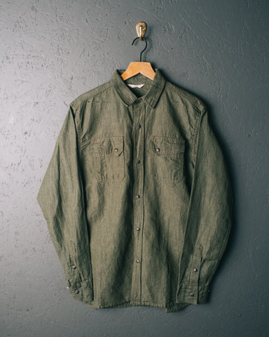 3sixteen Crosscut Western Cotton/Linen Denim Shirt