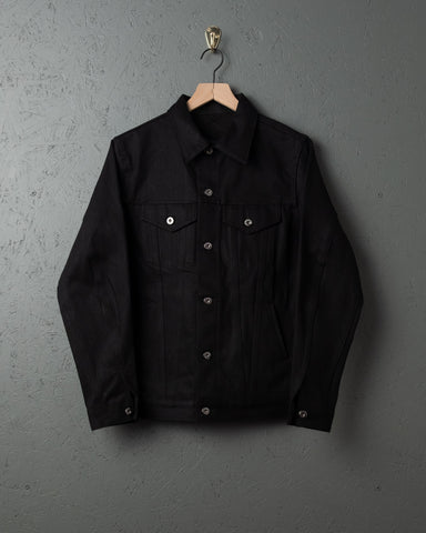 3sixteen Type 3s Denim Jacket - Raw Selvedge - Double Black & Indigo/Black Shadow