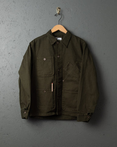 Tellason Garment-Dyed Coverall Jacket - Green and Int'l Orange