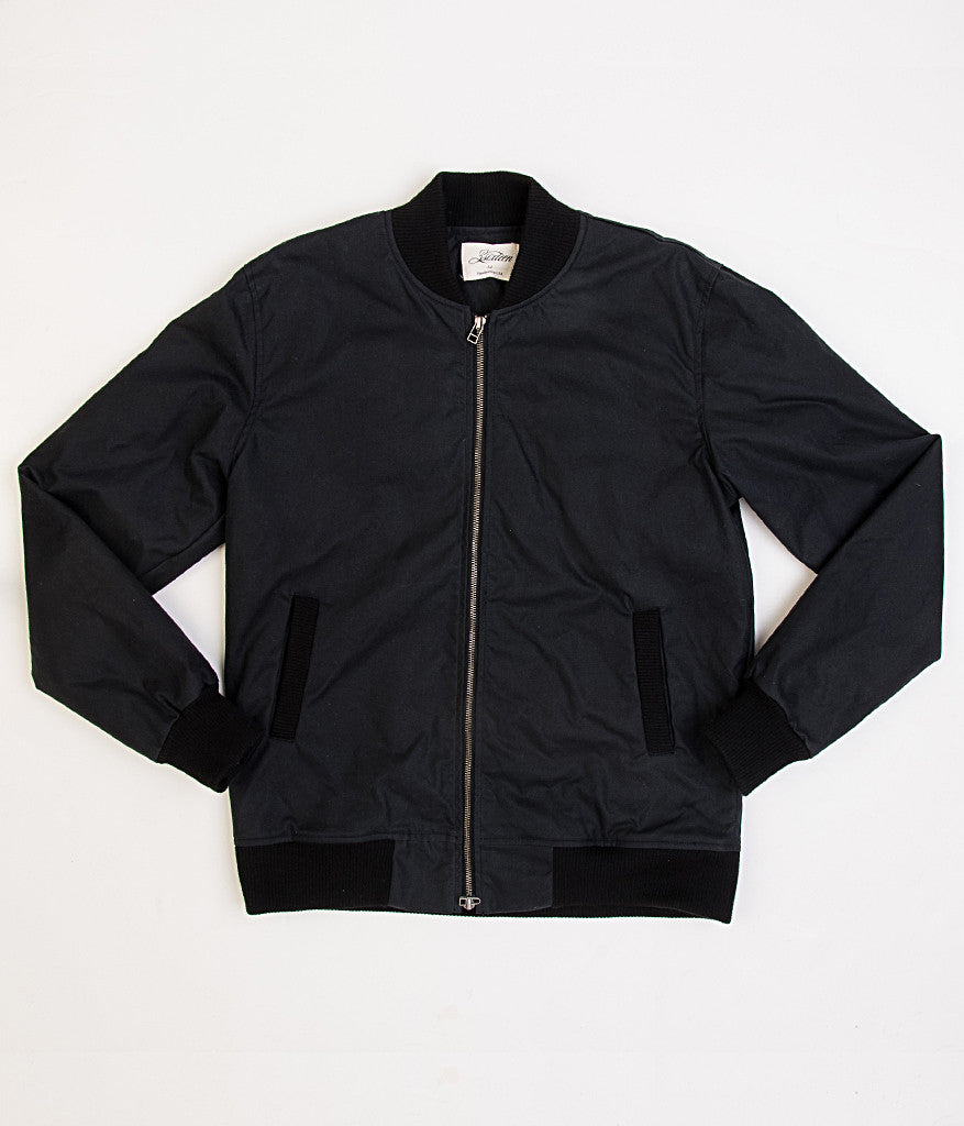 3sixteen Waxed Canvas Stadium Jacket - Black