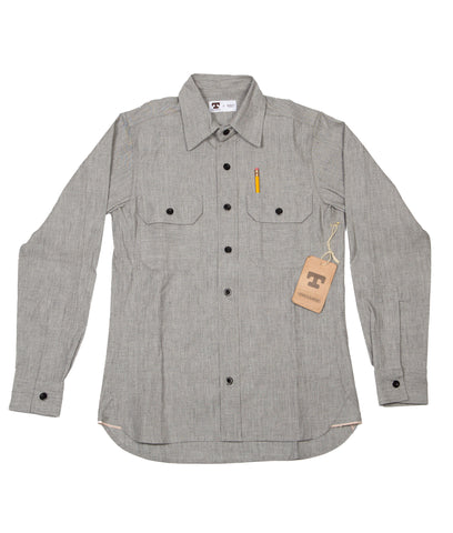 Tellason Clampdown Shirt - Grey Japanese Selvedge