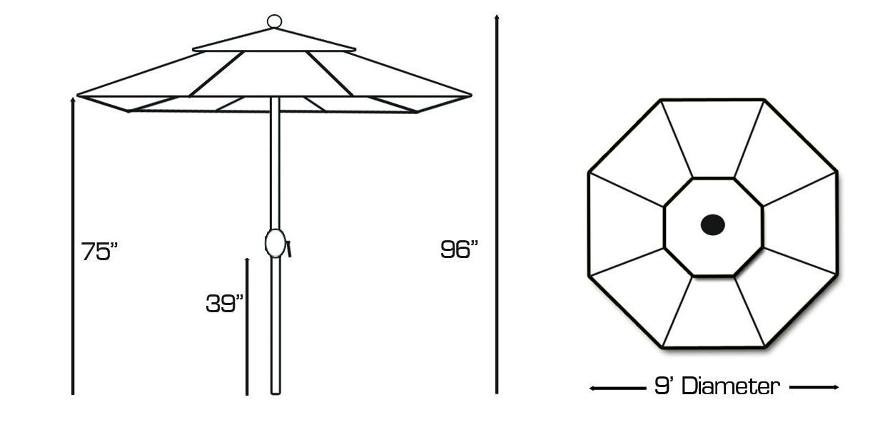 9 ft -  Auto-Tilt Aluminum Umbrella
