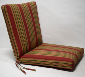 1 piece hinged, 22 wide x 25 deep (seat) x 25 high (back) x 4 thick burgundy green stripe print