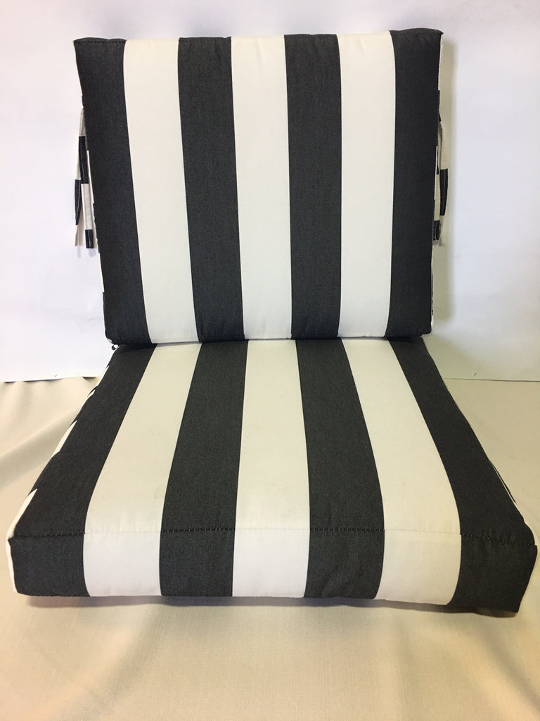 2 piece 24 wide x 26 deep seat x 20 high back with ties Sunbrella Cabana Classic