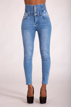 Super High waist Blue Jeans - Denim Crush