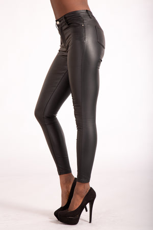 Cute Kandy Black leather Look Leggings - Denim Crush