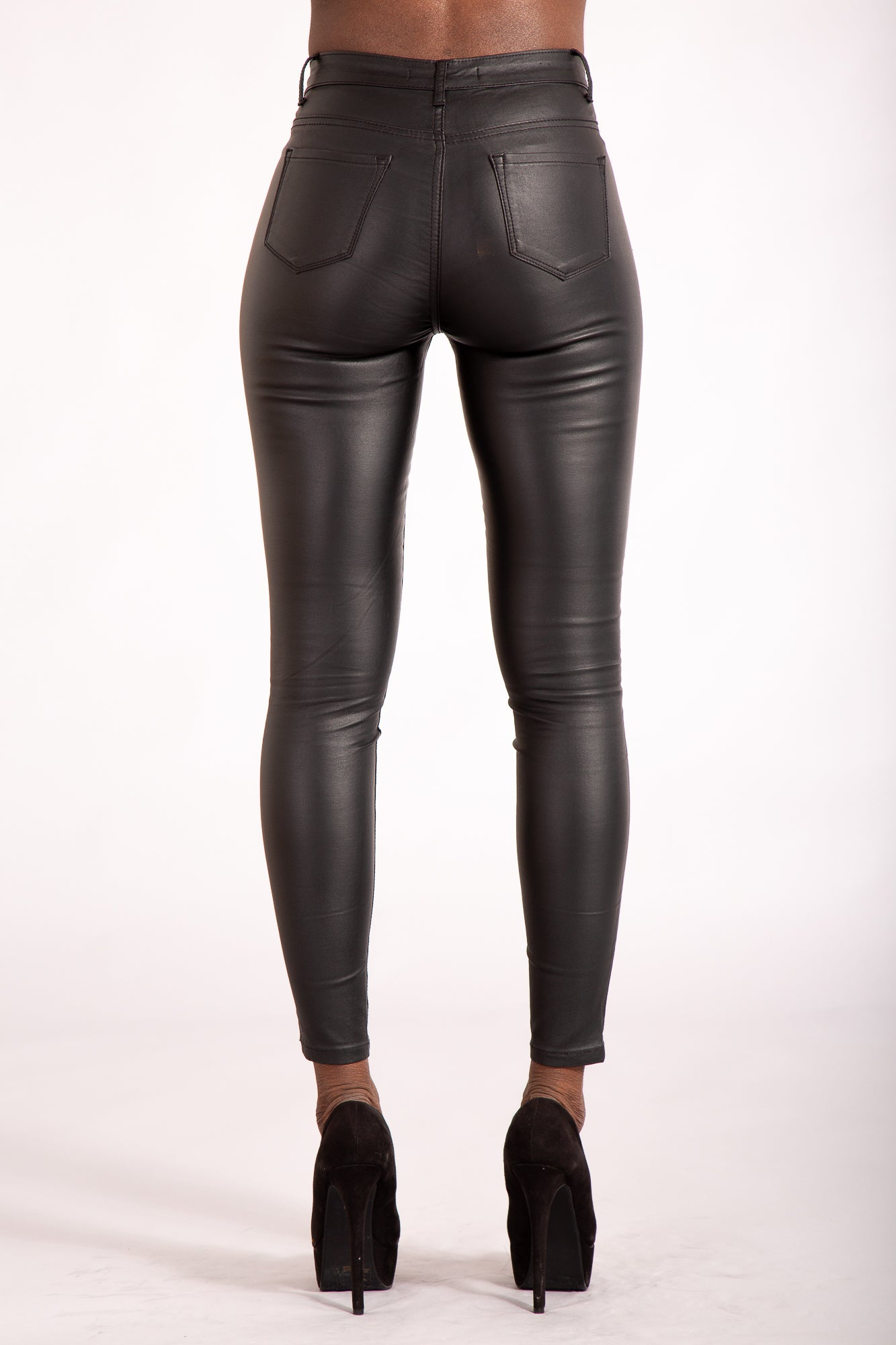 36f292b0af75fa Cute Kandy Black leather Look Leggings - Denim Crush
