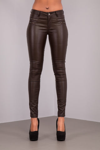 Black Leather Look Trousers No Back Pocket