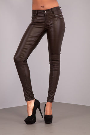 Lusty Brown Leather Look Jeans With 4 Zips - Denim Crush