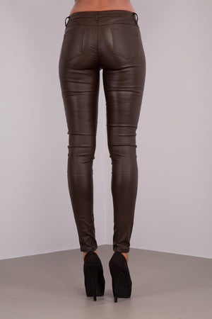 Lusty Leather Look Leggings With Zips
