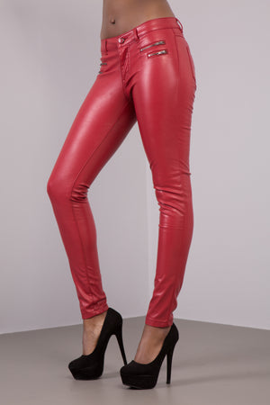 Lusty Red PU Leather Look Jeans with 4 Zips