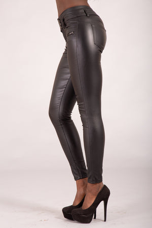 Mystique 3 Button Leather Look Trousers