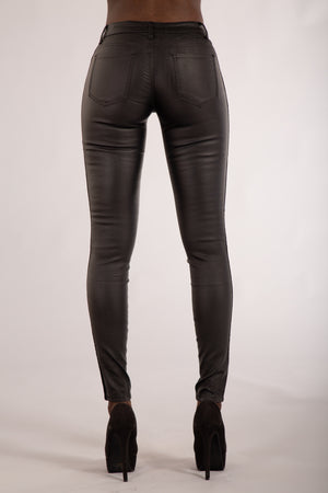 My Sweet Side Leather Look Trousers with Side Stripe