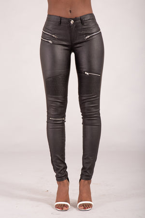 Leather Look Skinny Fit Jeans with Zips for Women