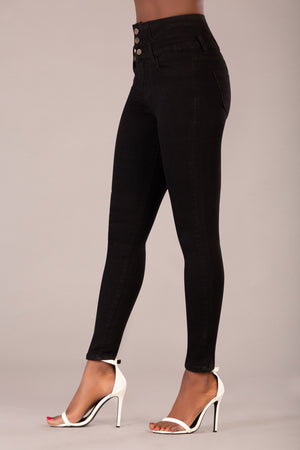 Jenna Black High Waist Leather Look Slim Fitting Trousers - Denim Crush
