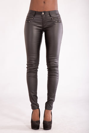 Lusty Women Black Leather Look Jeans With 4 Zips