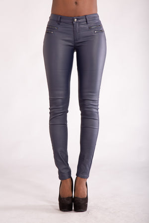Lusty Navy Leather Look Trousers With 4 Zips - Denim Crush