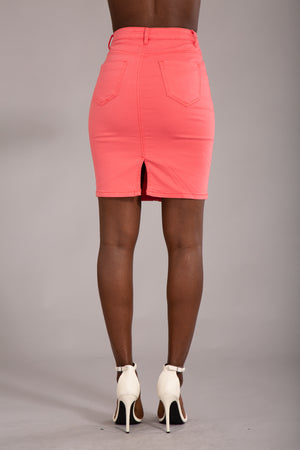 Felling The Vibe Pink Pencil Skirt