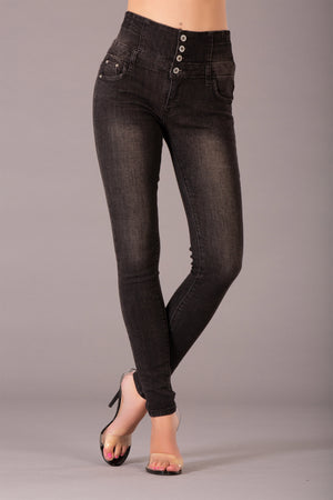 Bella Faded Black High Waist Jeans