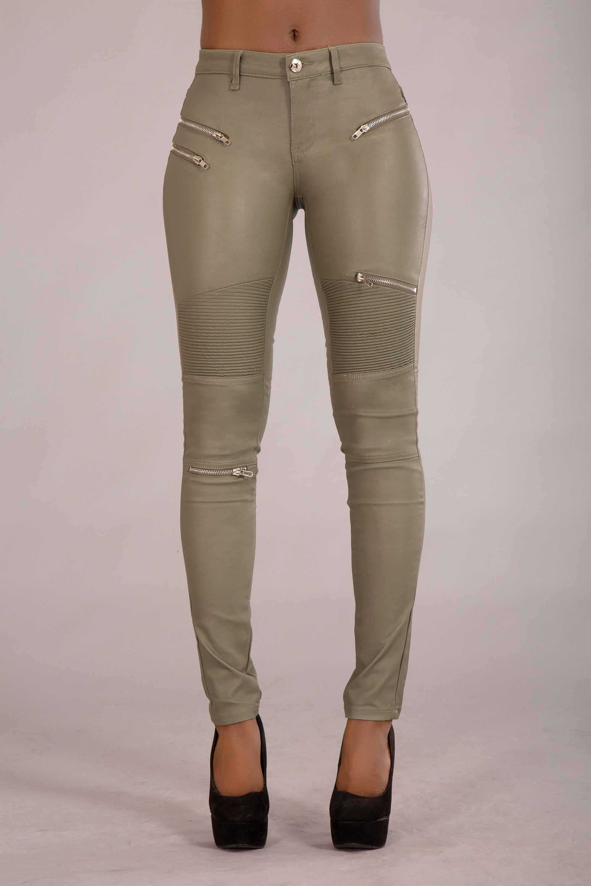Lorene Leather Look Military Jeans With Zips