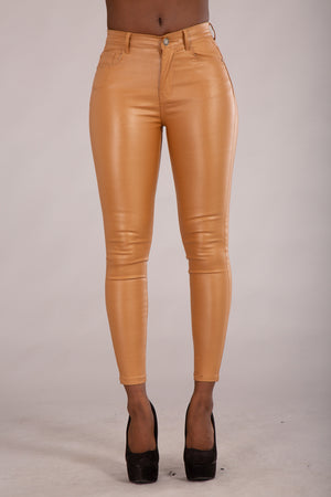 Cute Kandy Camel Leather Look Leggings