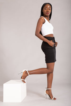 Felling The Vibe Black Pencil Skirt