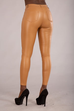 Kandy Camel Leather Look Leggings