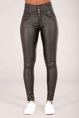 Sabrina Black Faux Leather jeans