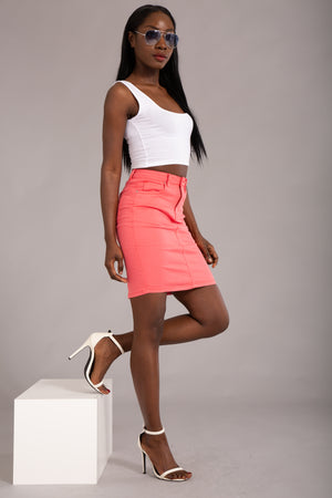 Felling The Vibe Pink Pencil Skirt - Denim Crush