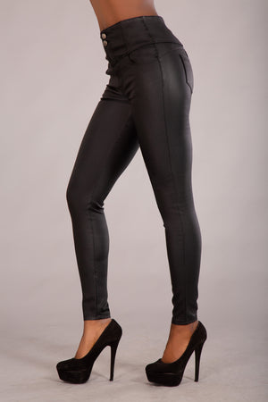 High Waist 2  Button Faux Leather Trousers