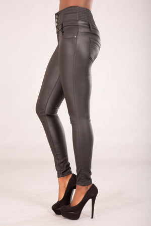 Sabrina Black Faux Leather jeans from Denim Crush