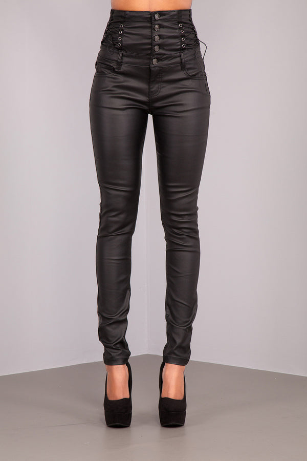 High Waist black Leather Trousers With side lace