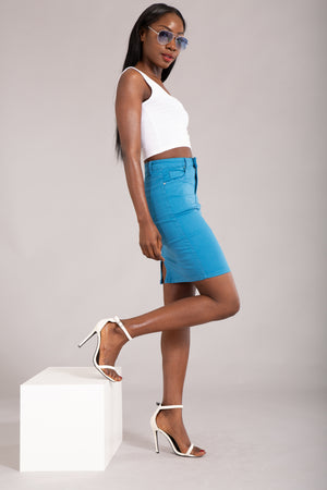 Felling The Vibe Blue Pencil Skirt - Denim Crush