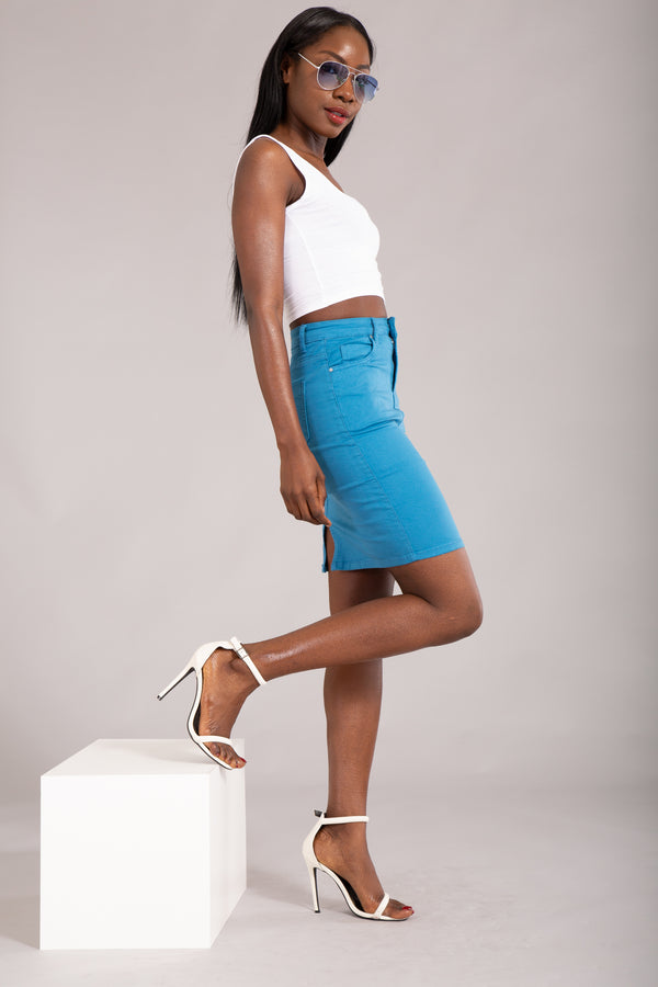 Felling The Vibe Blue Pencil Skirt