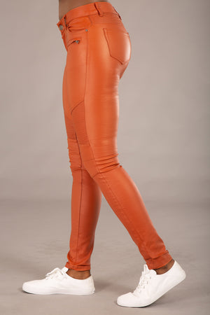 Kylie Tan Leather Look Trousers