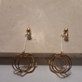 Cubic and 3 circled ladies earrings