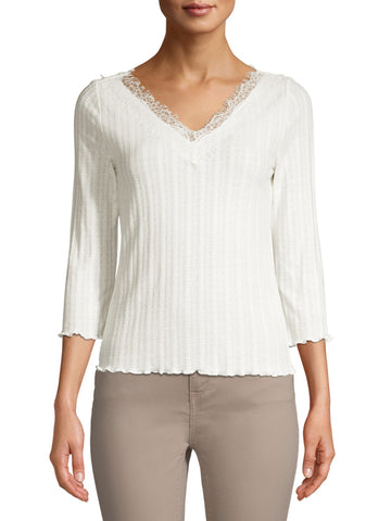 Double V-Neck with pretty lace trim on Blouse