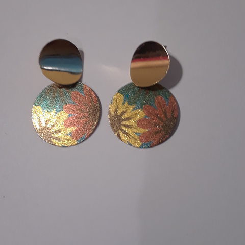 Colorful flowered circle earrings