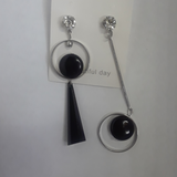Funky and retro silver black earrings