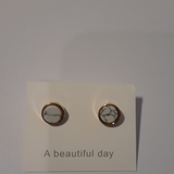 Small marble designed earring