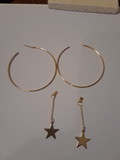Hanging star within a circle earrings
