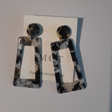 Black and white rectangle earrings