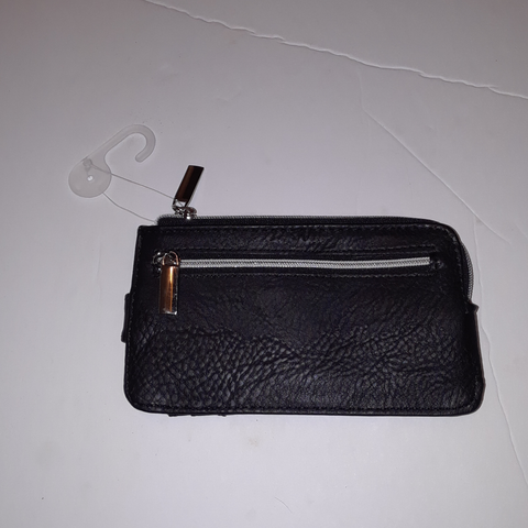 black and silver lined cc and change purse