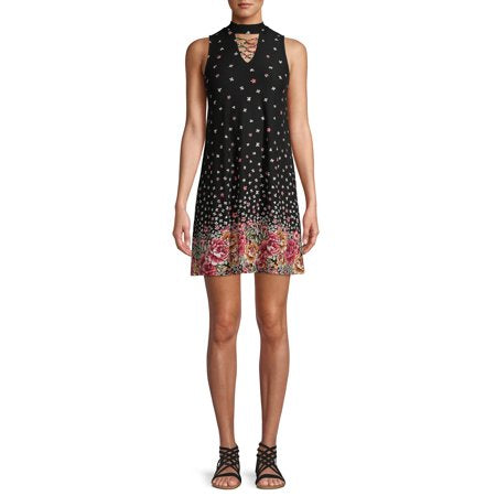 Flowered Women's Black Dress