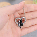 Black Silver On Heart Cat Crystal Pendant Necklace - Passion's Fashion Closet
