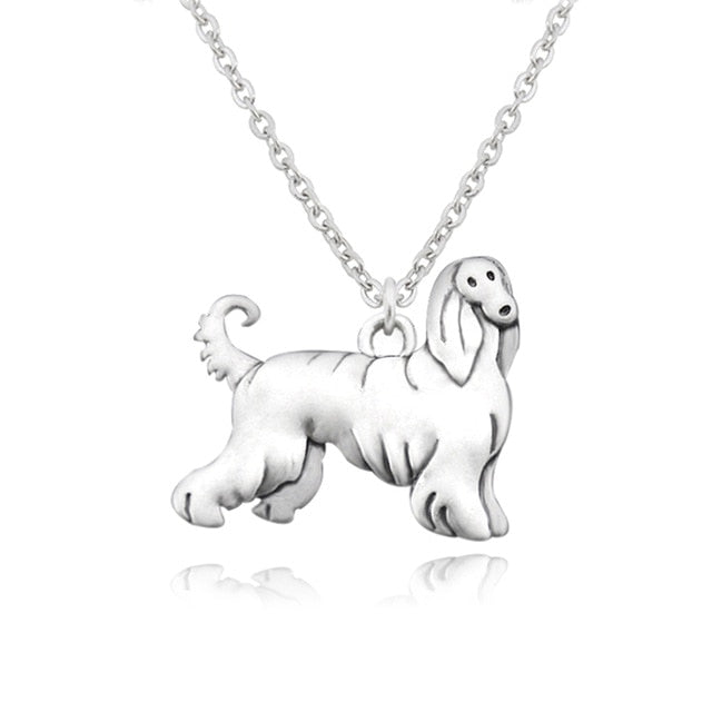 Afghan Hound Dog Necklace Vintage Silver Stainless Steel - Passion's Fashion Closet