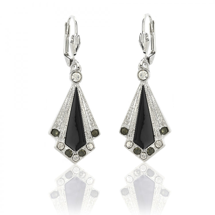 Lovett & Co Art Deco Black and Silver Drop Earrings