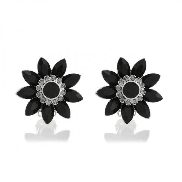 Lovett & Co Audrey Jet Flower Clip On Earrings