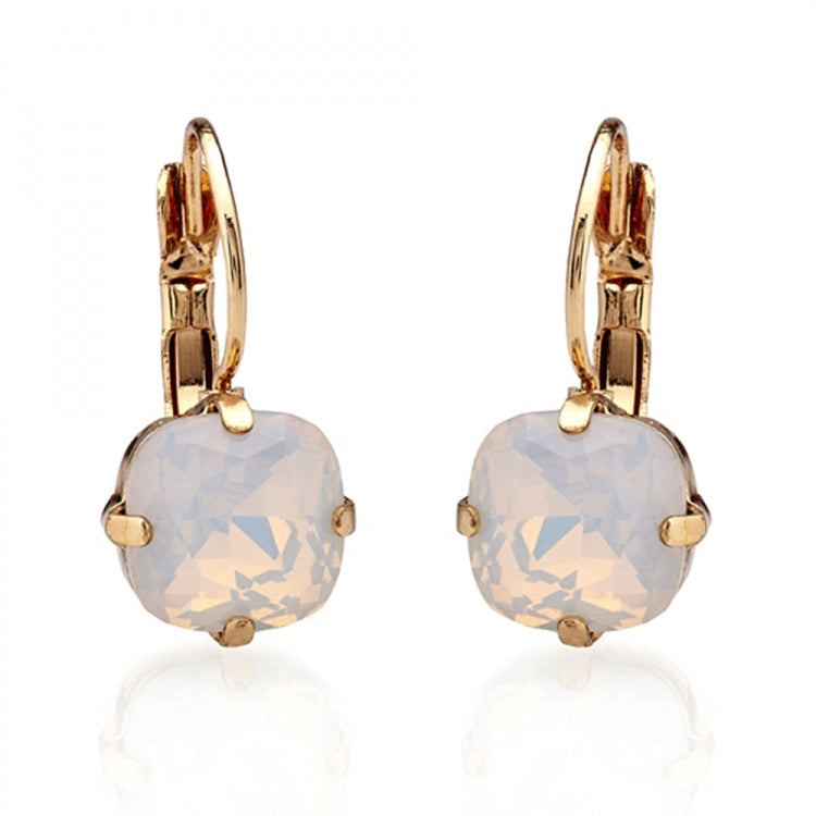 Lovett & Co Cushion Cut White Opal Earrings
