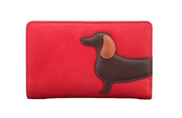Yoshi Dottie the Dachshund Flap Over Red Leather Purse